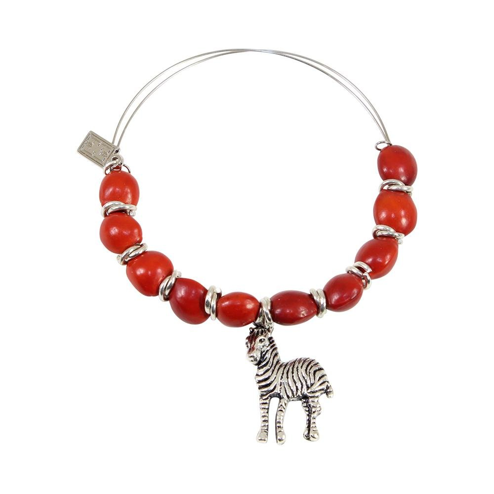 Zebra Charm Adjustable Bangle Bracelet for Women w/ Huayruro Red Seed Beads - EvelynBrooksDesigns