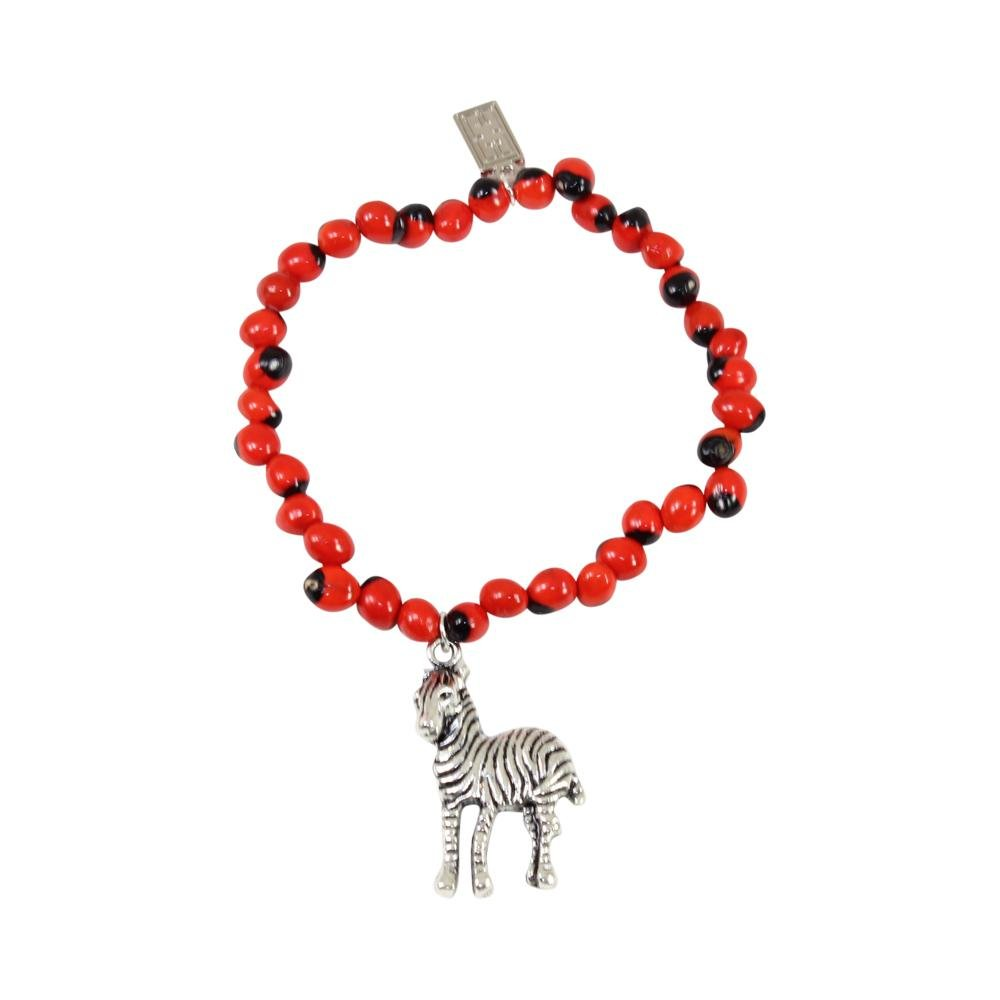 Zebra Charm Stretchy Bracelet w/Meaningful Good Luck, Prosperity, Love Huayruro Seeds - EvelynBrooksDesigns