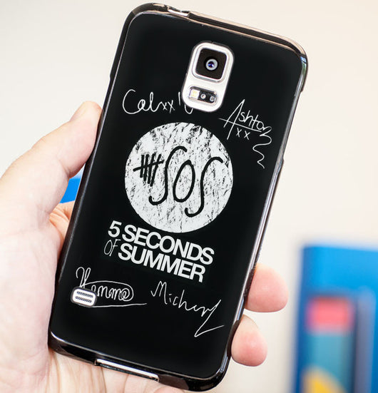 5SOS Signatures Cover - Five Seconds of Summer Plastic / Rubber Samsung Galaxy S3 S4 S5 and Note 3 Cases