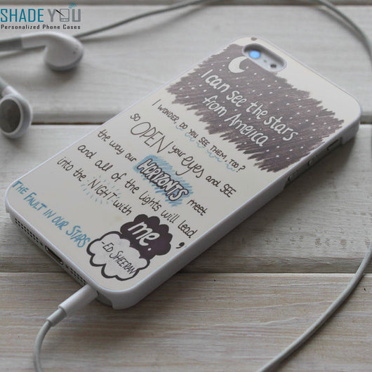 Ed Sheeran All of The Stars Lyrics TFIOS iPhone 4/4S, iPhone 5/5S/5C, iPhone 6 Case, Samsung Galaxy S4/S5 Cases