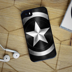 Captain America Shield Black - iPhone 6 Case, iPhone 5S Case, iPhone 5C Case plus Samsung Galaxy S4 S5 S6 Edge Cases