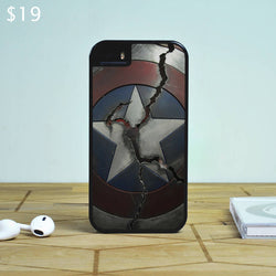 Captain America Shield Cracked - The Avengers iPhone 6 Case, iPhone 5S Case, iPhone 5C Case plus Samsung Galaxy S4 S5 S6 Edge Cases