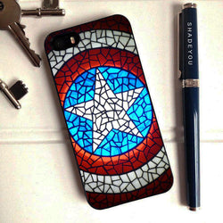 Captain America Shield Stained Glass - iPhone 6 Case, iPhone 5S Case, iPhone 5C Case plus Samsung Galaxy S4 S5 S6 Edge Cases