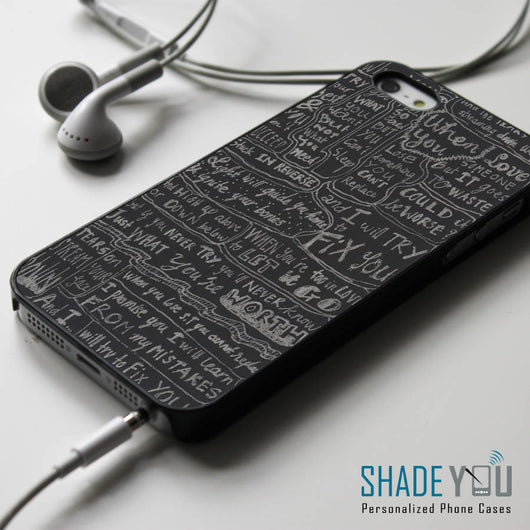 Coldplay Fix You Lyrics - iPhone 4/4S, iPhone 5/5S/5C, iPhone 6 Case, Samsung Galaxy S4/S5/S6 Edge Cases