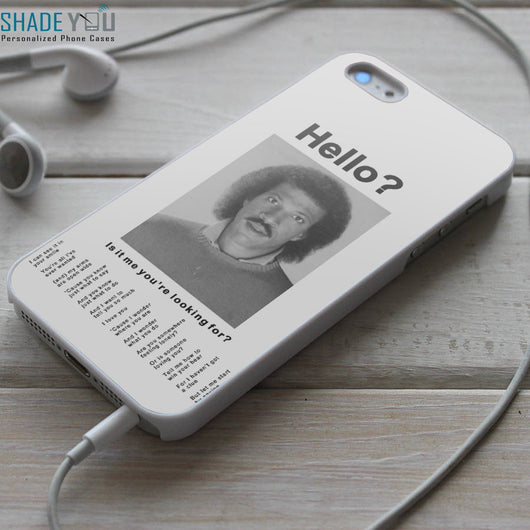 Lionel Richie Hello Lyrics - iPhone 4/4S, iPhone 5/5S/5C, iPhone 6 Case & Samsung Galaxy S4/S5 Cases