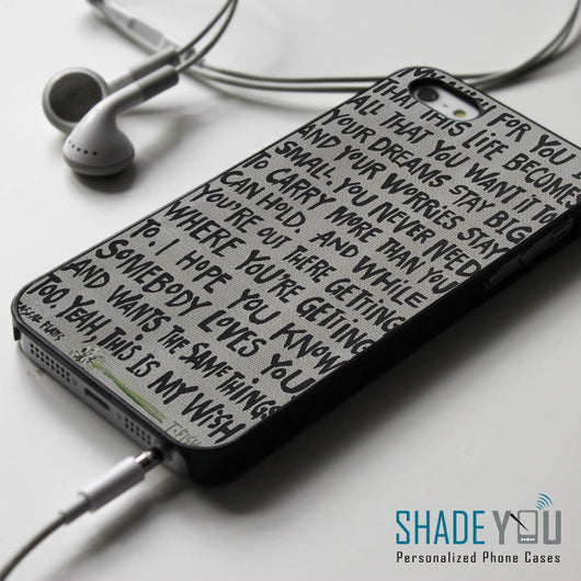 Rascal Flatts My Wish Lyrics iPhone 4/4S, iPhone 5/5S/5C, iPhone 6 Case, Samsung Galaxy S4/S5 Cases