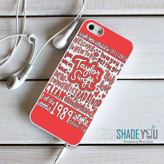 Taylor Swift 1989 Red Lyrics - iPhone 4/4S, iPhone 5/5S/5C, iPhone 6 Case, plus Samsung Galaxy S4/S5/S6 Edge Cases