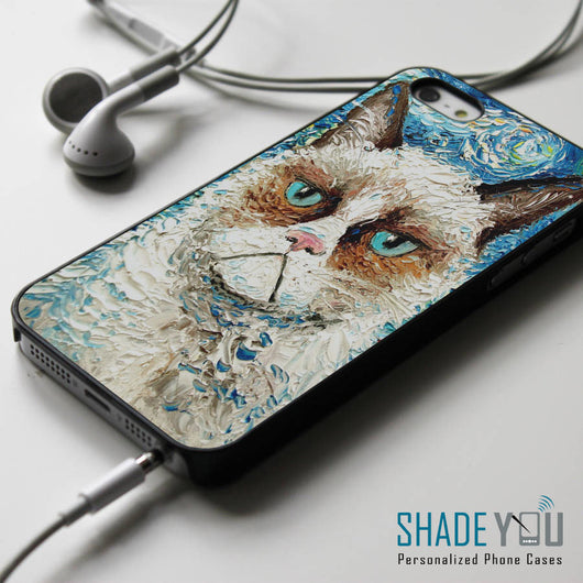 Grumpy Cat Starry Night - iPhone 4/4S, iPhone 5/5S/5C, iPhone 6 Case, Samsung Galaxy S4/S5 Cases