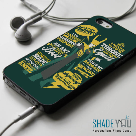 Loki Supervillain Quotes iPhone 4/4S, iPhone 5/5S, iPhone 5C Case, Samsung Galaxy S4/S5 Cases