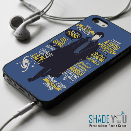 Sherlock Holmes Collage Quotes iPhone 4/4S, iPhone 5/5S, iPhone 5C Case, Samsung Galaxy S4/S5 Cases