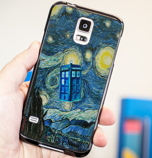 Doctor Who Tardis Starry Night Cover - Plastic / Rubber Samsung Galaxy S3 S4 S5 and Note 3 Cases