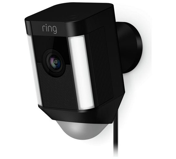 Ring Spotlight Security Camera - Wired - Black