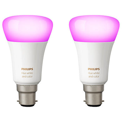 Philips Hue White and Colour Ambiance Light Bulbs, 9W B22 Bayonet Cap, Pack of 2