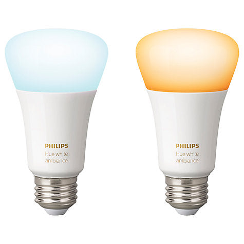 Philips Hue White Ambiance Light Bulbs 9.5W A60 E27 Edison Screw Bulbs, Pack of 2