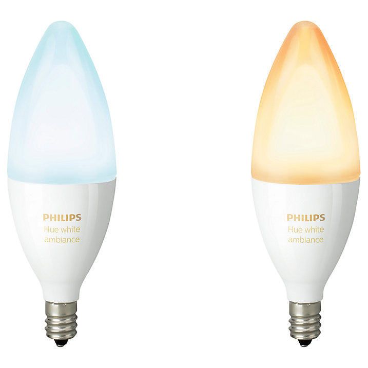 Philips Hue White Ambiance Light Bulbs, 6W B39 E14 Small Edison Screw Bulb, Pack of 2