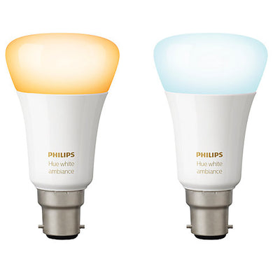 Philips Hue White Ambiance Light Bulbs, 9.5W A60 B22 Bulbs, Pack of 2