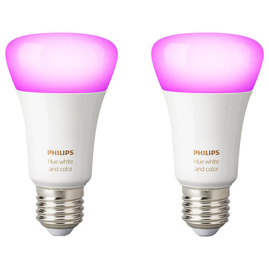 Philips Hue White and Colour Ambiance Light Bulbs, 9W A60 E27 Edison Screw Bulb, Pack of 2