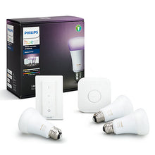 Philips Hue White & Colour Ambiance Starter Kit with 3 Bulbs, 10W E27 Edison Screw Cap