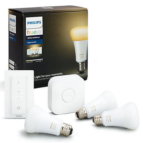 Philips Hue White Ambiance Starter Kit with 3 Bulbs, 10W E27 Edison Screw Cap