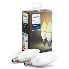 Philips Hue White Ambiance Light Bulbs, 6W B39 E14 Small Edison Screw Bulb, Pack of 2 - Boxed