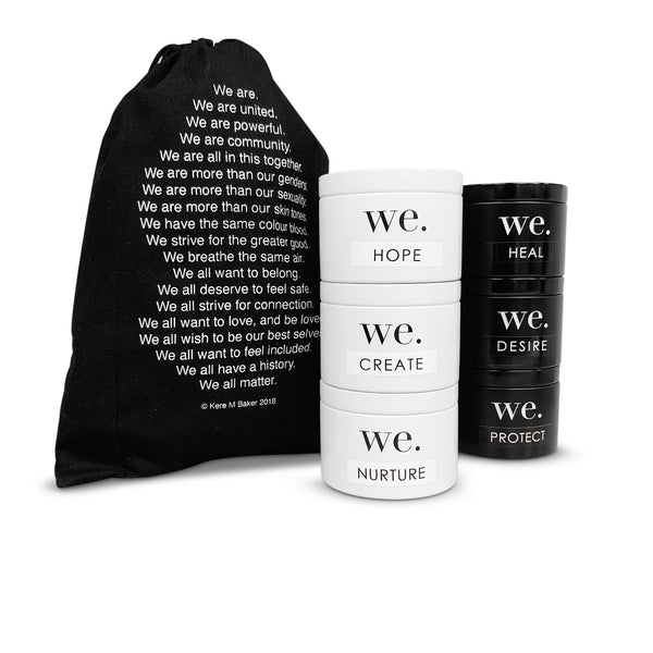 WE. Full Set of TIns + Custom Poem Bag