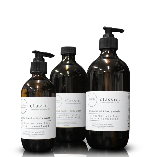 Classic. Aroma  Hand + Body Wash (Amber Glass 200ml Pump, 500ml Pump or 500ml Refill)