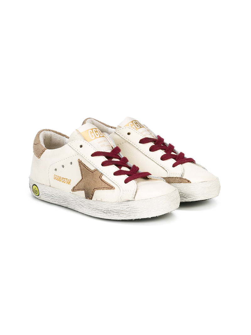 GOLDEN GOOSE SUPERSTAR Sneakers Bianca Pelle / Stella Lacci Bordeaux G31KS301.V6