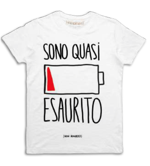 "Happiness T-Shirt Kids Boy ""Sono quasi esaurito"" B950"