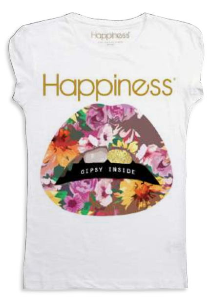 "Happiness T-Shirt Kids Girl ""Bocca Fiori"" G942"