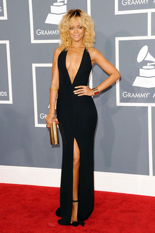 Rihanna Black Sexy Prom Gown  2012 Grammy Awards Red Carpet