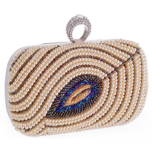 Champagne Beaded Women's Handbag Party Clutch