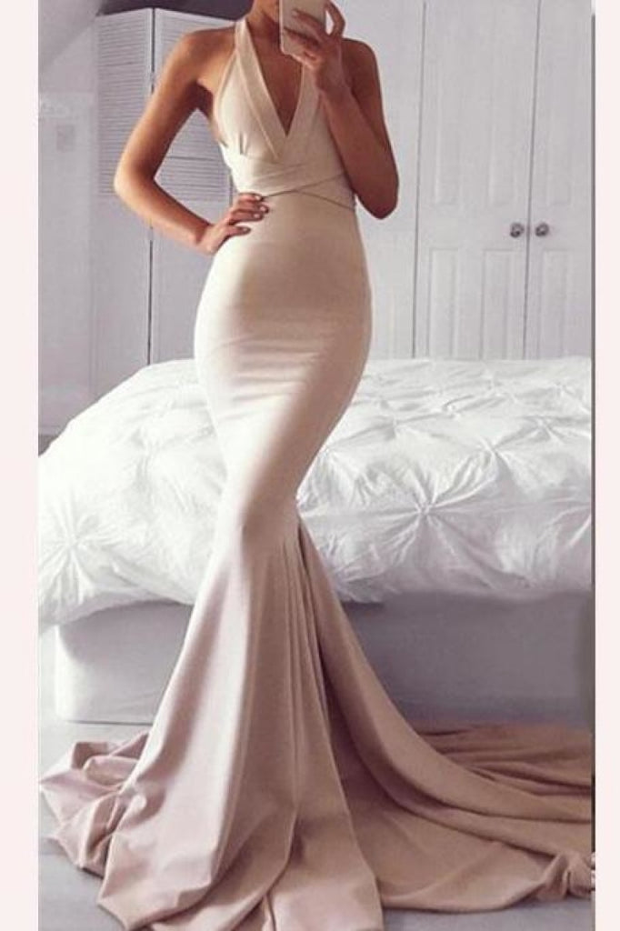 Sexy Low V-neck Mermaid Criss-Cross Straps Prom Dress