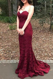 Sexy Burgundy Strapless Sweetheart Lace Evening Formal Dress Dresses