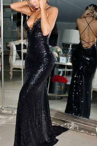 Sexy Black Sequined Criss-Cross Strap Prom Dresses