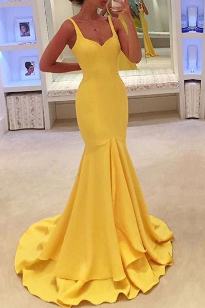 Chic Yellow Sweetheart Ruffled Mermaid Formal Prom Dress