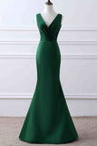 Elegant Dark Green V-neck Ruffled Mermaid Evening Prom Gown