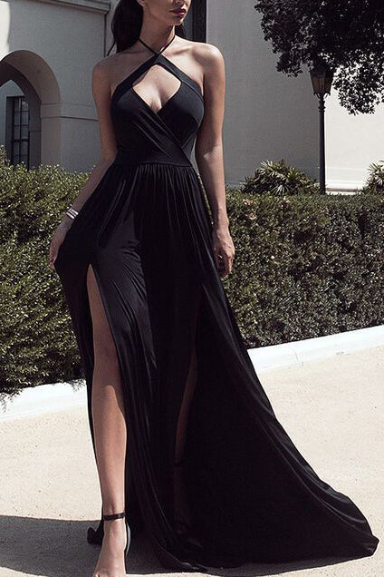 Black Halter Cut Out two Slit Evening Gown Prom Dress