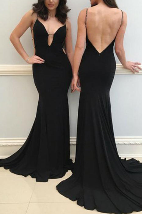 Sexy Black Mermaid Spaghetti Straps Beaded Long Prom Gown