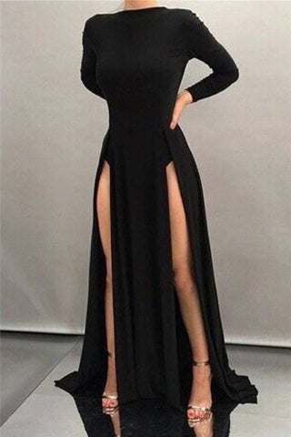 Simple Black High Neck Front Slit Long Sleeves Evening Dress