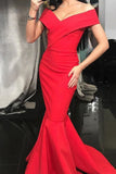 Simple Red Off Shoulder Ruffled Mermaid Evening Gown Prom Dress