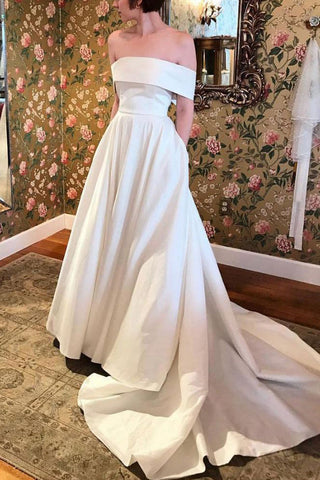 Elegant White Off Shoulder Wedding Ball Gown Prom Dress