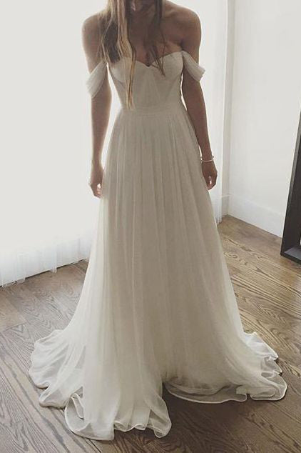 Elegant White Off Shoulder Sweetheart Prom Gown Wedding Dress