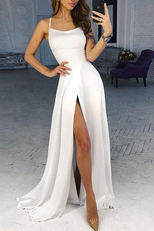 Simple White Slit Spaghetti Straps Long Prom Dress