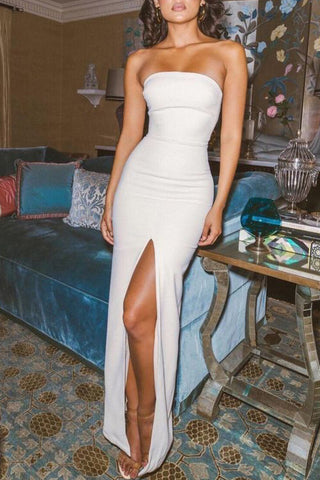 Sexy Simple White Strapless Slit Long Evening Prom Dress