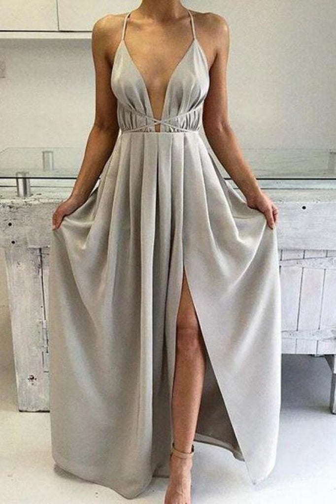 Sexy Silver A-Line Halter Ruffled Slit Sleeveless Evening Prom Gown Dresses