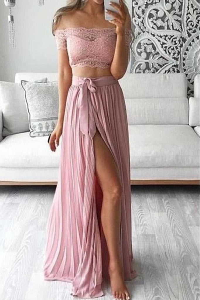 Sexy Pearl Pink Two Pieces Off Shoulder Pleated Silt Prom Dress Dresses