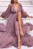 Chic Deep V-neck Long Sleeves Slit Ruffled Prom Dress