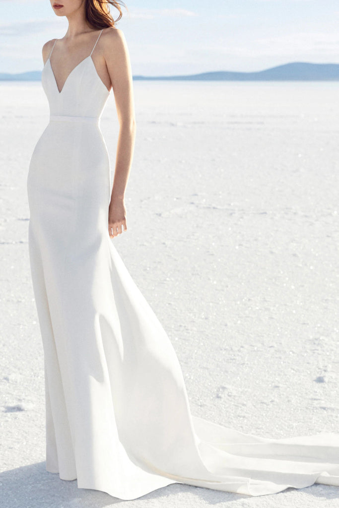 Simple White V-neck A-line Spaghetti Straps Long Prom Dress