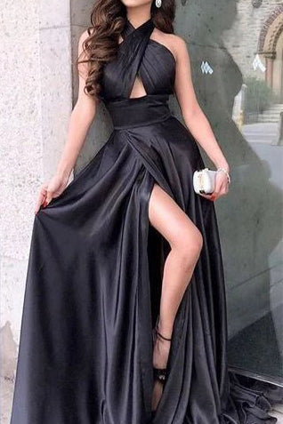 Elegant Black Halter Cut Out Slit Modest Long Prom Dress