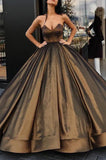 Elegant Brown Sweetheart Beaded A-line Princess Prom Ball Gown